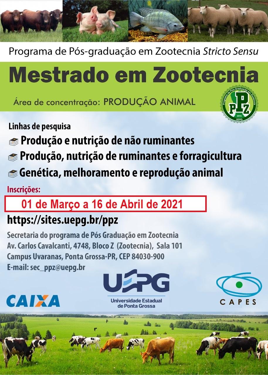 Programa de Pós Graduação em Zootecnia abre processo seletivo para o Mestrado em 2021