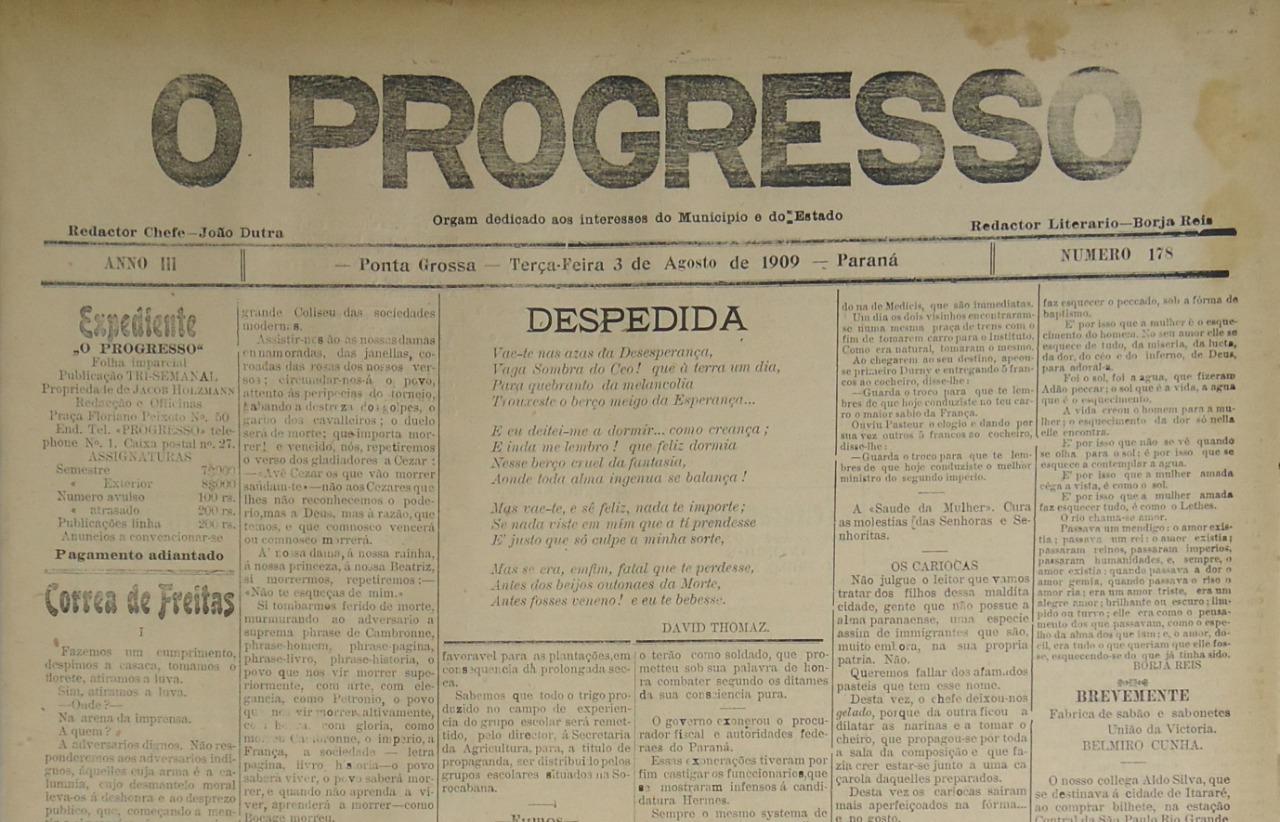 """COLEÇÃO """"O PROGRESSO""""/""""DIÁRIO DOS CAMPOS"""" – 1909/1924"""
